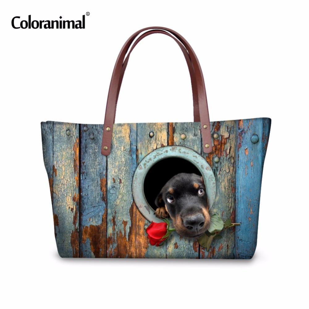 Coloranimal Cute Rose Dog Animal Printed Women Handbag for Ladies Shopping Large Tote Bags Brand Designer Fashion Top Handle Bag фурминатор для собак короткошерстных пород furminator short hair large dog