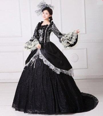 Noir reine robe royale robe pour femmes royal partie cosplay vêtements noir princesse partie noir fête d'anniversaire robe