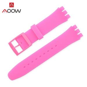Цветной силиконовый ремешок для часов Swatch, 12 мм, 16 мм, 17 мм, 19 мм, 20 мм, сменный Браслет, ремешок, аксессуары, розовый, черный