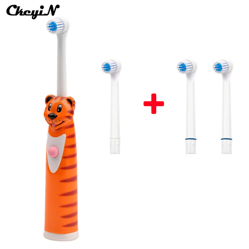 CkeyiN Rotating Anti Slip Waterproof Electric Toothbrush For Kids Adult With 4 Brush Heads Tooth Brush Oral Hygiene Dental Care touchbeauty 3 in1 rotating facial cleansing brush set with 3 replacement brush heads 2 speed settings with storage box tb 0759a
