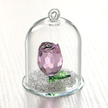 H&D Crystal Enchanted Rose Flower Figurine Dreams Ornament in a Glass Dome Gifts for her (Pink)(China)