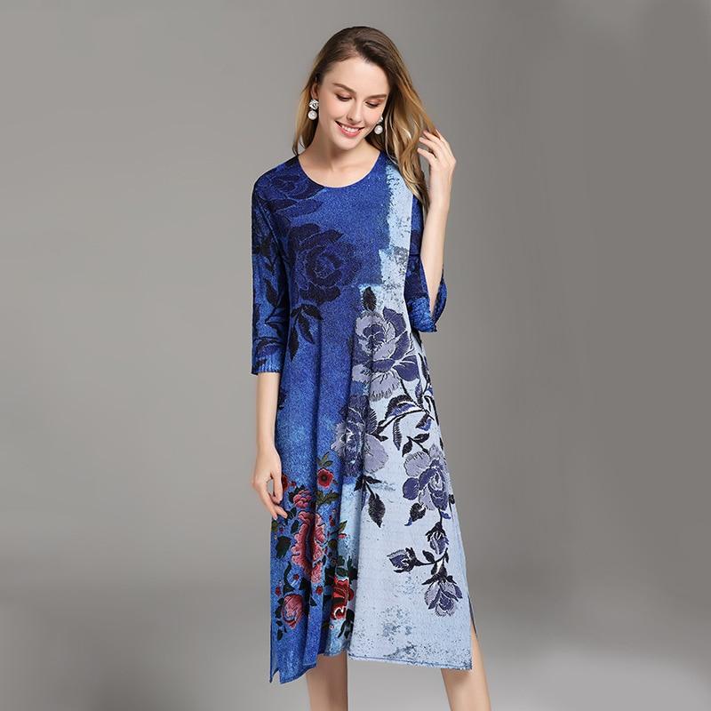 blue Imprimées white Black Nouveau Femmes Mode Robe Lâche Floral De Droite Printemps Marée Plis Robes Nouvelle Taille Grande odrCBex
