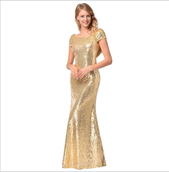 Gold Shining Sequin   Bridesmaid     Dresses   Sexy Backless Long Wedding Party Gowns Vintage Maid of Honor   Dress   Vestido De Festa Q034