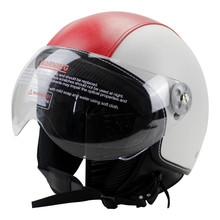 HOT SELL  red PU Leather Helmets 3/4 Motorcycle Chopper Bike helmet open face vintage motorcycle with clear lens