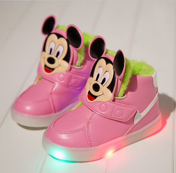 Children s Autumn Winter LED Bright Light Flash Sneakers Shoes Girls Pink  Casual Single Shoes-in Sneakers from Mother   Kids b3c25ae31a42