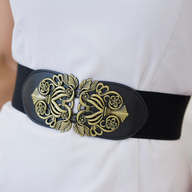 Fashion Women Belts PU Leather Imitation Suitable For Halloween Clothing Soft Waistband Elastic Wide Cummerbunds Wedding Dress