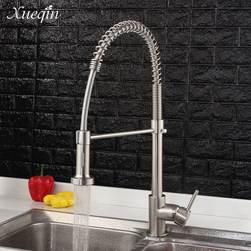 Xueqin Modern Kitchen Water Faucet Chrome Cold Hot Water Mixer Tap Bathroom Spring Single Handle Pull Out Spray kitchen chrome plated brass faucet single handle pull out pull down sink mixer hot and cold tap modern design