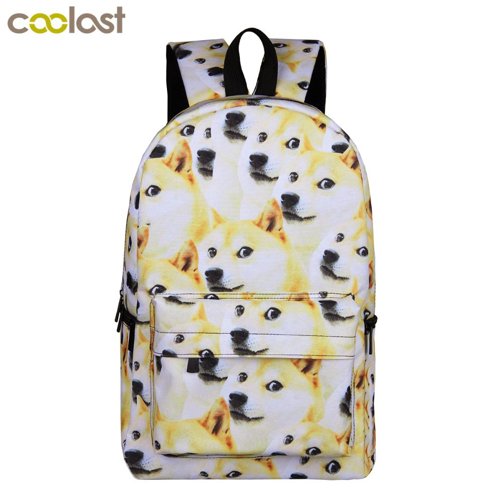 Students Backpack Book-Bag Shiba Inu Funny Teenager Women Children for Girls Laptop Puppy