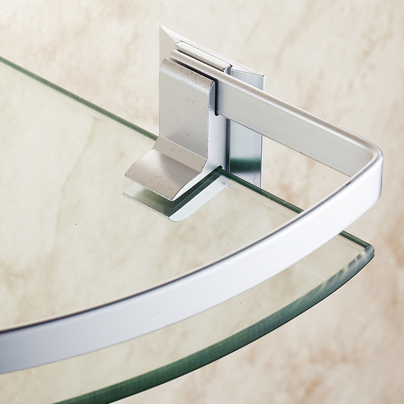 Bathroom Shelves Aluminum Shelf Toughened Glass Bathroom Towel Rack Corner  Cosmetic Stand Angle Double Layer With Rod ICD60037 In Bathroom Shelves  From Home ...