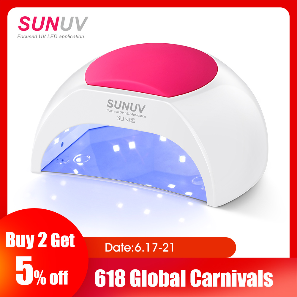 SUNUV SUN2C 48W Nail Lamp UV Lamp SUN2 Nail Dryer for UVLED Gel Nail Dryer Infrared Sensor with  Rose Silicone Pad Salon UseSUNUV SUN2C 48W Nail Lamp UV Lamp SUN2 Nail Dryer for UVLED Gel Nail Dryer Infrared Sensor with  Rose Silicone Pad Salon Use