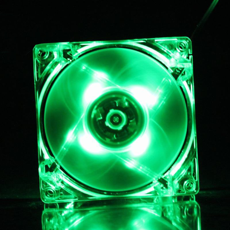 1PCS LOT GDT 12025 12V 4P DC Green Light 120MM 12CM 120MMx120MMx25mm LED Cooling Fan Fans in Fans Cooling from Computer Office