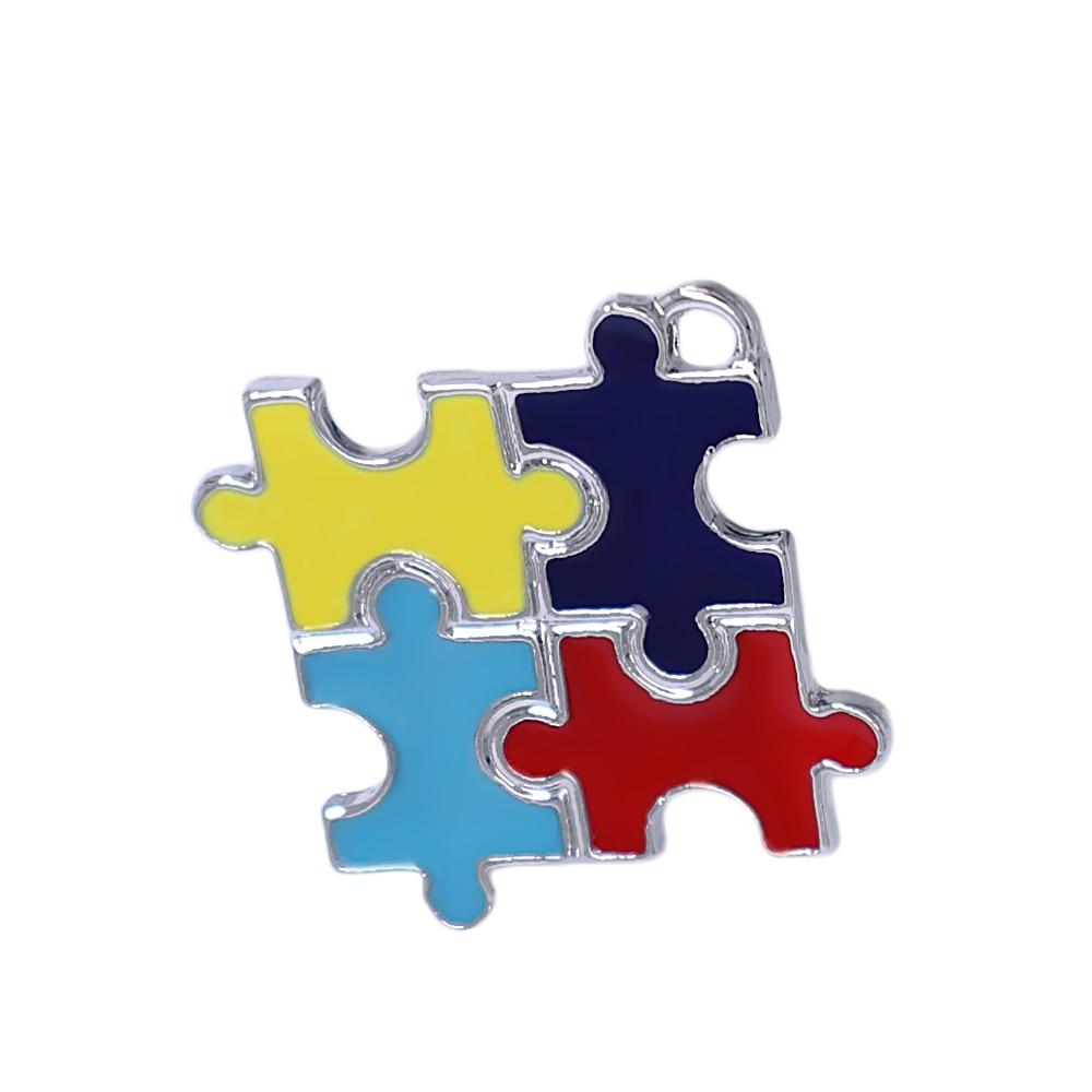 Popular enamel metal square autism puzzle charm for autistic jewelry DIY pendant