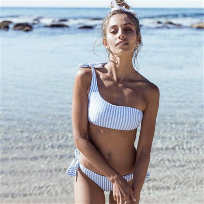 Blue stripe one shoulder bandage bikini swimwear women biquini sexy push up bra Top& bottom bandeau swimsuit bikinis 2018 mujer new cute girls sexy bikini women swimwear push up bra biquini low waist mini skirt bottom agate jewelry bikini set swimsuit