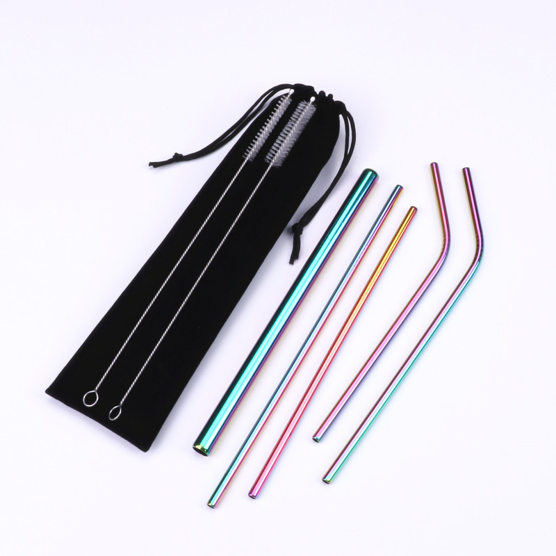 Reusable Drinking Straw Stainless Steel Straight Bend Straw with Cleaner Brush Bag Set Metal Straw Bar Accessories Dropshipping in Drinking Straws from Home Garden