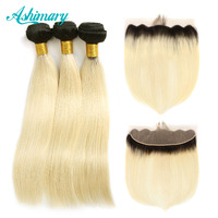 Ashimary 1B 613 Bundles with Frontal Ombre Human Hair Bundles with Lace Frontal Non Remy Ombre Blonde Bundles with Frontal