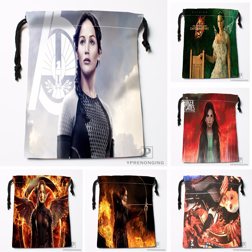 Custom Hunger Games Drawstring Bags Travel Storage Mini Pouch Swim Hiking Toy Bag Size 18x22cm#0412-03-19