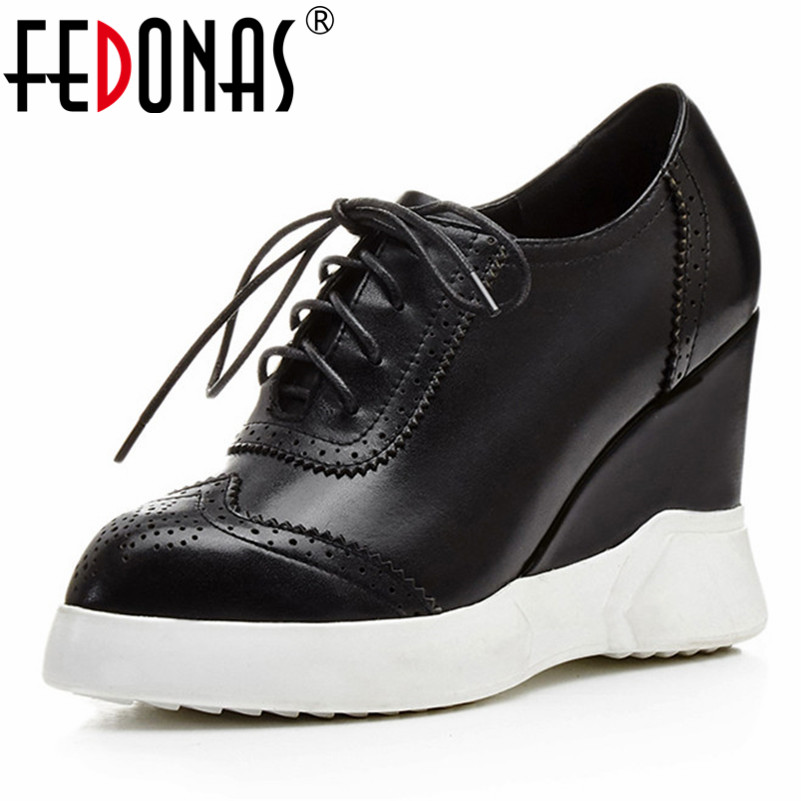 FEDONAS New Women Casual Quality Basic Pumps Genuine Leather Spring Autumn Wedges High Heels Shoes Woman Cross tied Brand Shoes