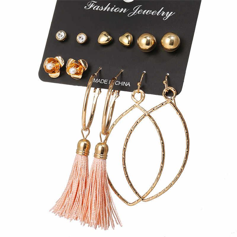 7b6347d8c998 ... 17KM New Design Long Tassel Stud Earrings Set For Women Girl 2018  Bohemian Flower Heart Earring ...