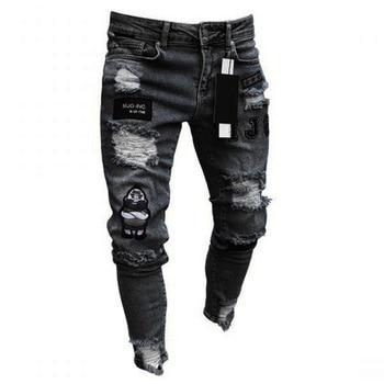 2019 Men for Jeans Ripped Skinny Slim Straight Frayed Denim Trousers New Fashion Sticker Skinny Biker Jeans Plus Size фото
