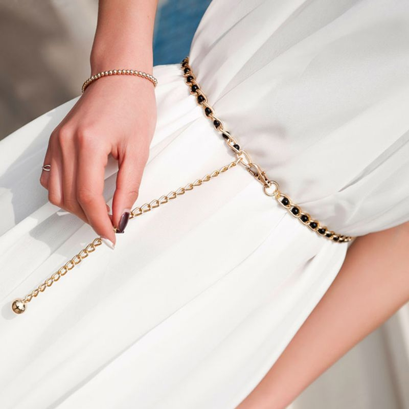Women Metal Imitation Pearl Beads Thin Waist Chain Belt Adjustable Gold Chains Waistband Strap Dress Accessories Decor