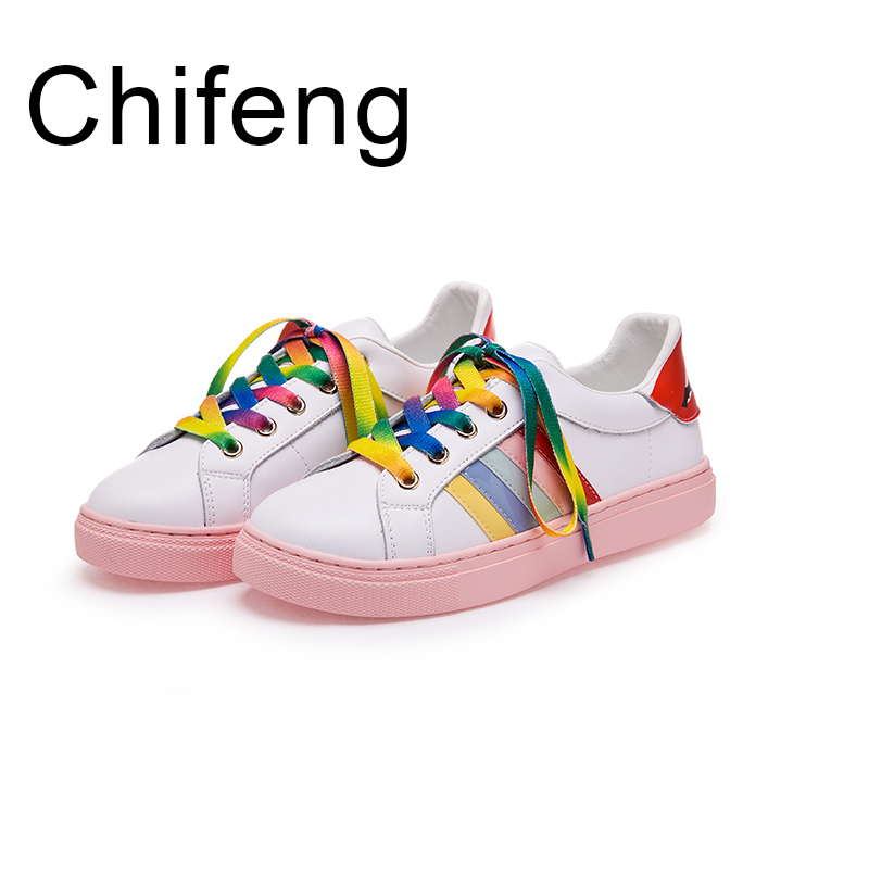 women Shoes woman Genuine leather Casual girl shoe 2017 Spring Autumn new Flat Personality Fashion Rainbow