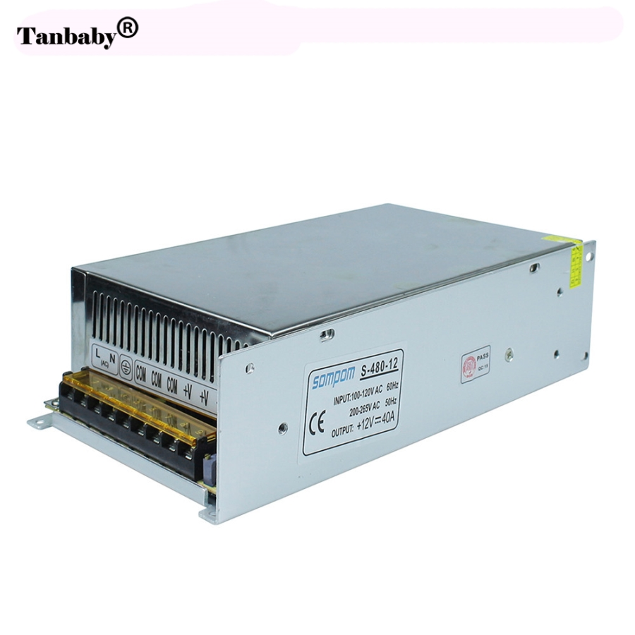 Tanbaby Dimmable LED Driver Switch Power Supply AC 110V/220V to DC 12V 40A 480W Voltage Transformer for Led Strip Light ac dc 36v ups power supply 36v 350w switch power supply transformer led driver for led strip light cctv camera webcam