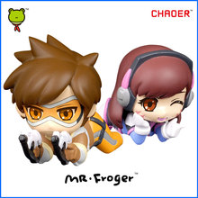 Mr.Froger OW Tracer Figure Over D.Va Action Figures Toys Chibi Dolls Game PVC Kids Games Figura POP Cute Watches Anime Figurine