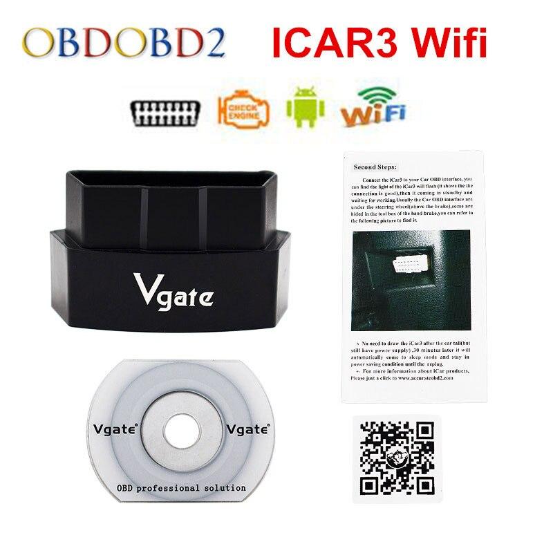 Meilleur Vgate iCar3 Wifi Code Lecteur Support Tous OBDII Protocole ELM327 WIFI 5 Couleurs ELM 327 Pour Android/IOS/PC Livraison gratuite