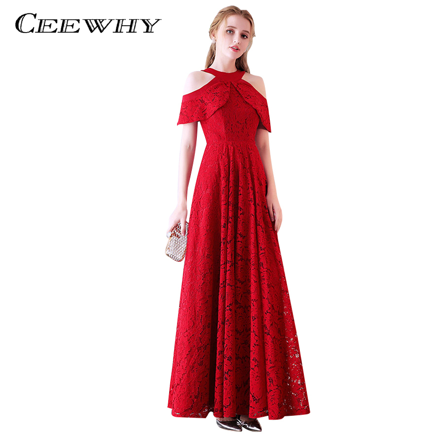CEEWHY Plus Size Burgundy Lace Evening Dresses Vestido Longo Long Formal Dress Prom Abendkleider Evening Gown Robe de Soiree