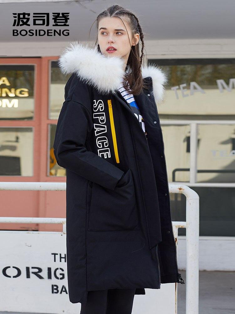 BOSIDENG longue doudoune pour les femmes d'hiver épais vers le bas parka lâche imperméable qualité supérieure blanc naturel col de fourrure B70142104