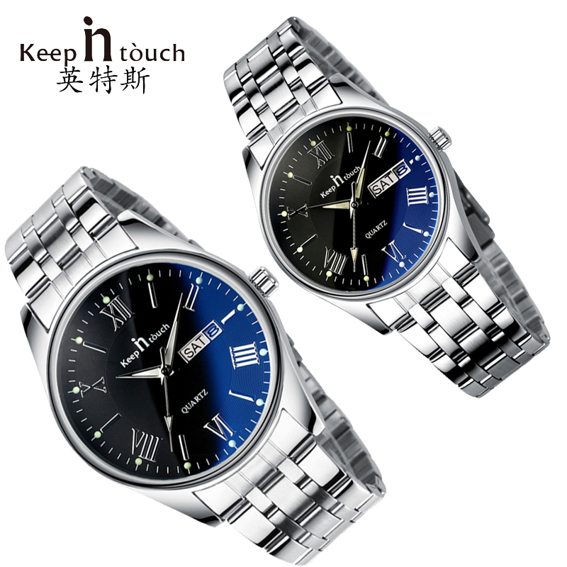 KEEP In Touch Couples Watch For Lovers Business Luxury Men and Women Wristwatches Quartz Waterpoof Calerdar Wedding Gifts keep in touch lovers watch luminescent calendar couple watches for lovers coffee golden watch men and women in pair with box