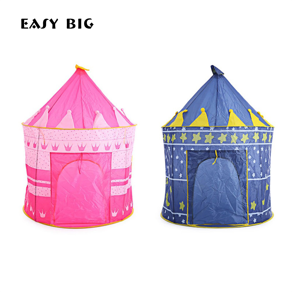 EASY BIG Kids Gifts Play Outdoor Toy Tents Portable Tipi Prince Folding Tent Children Boy Castle Cubby Play House TH0024