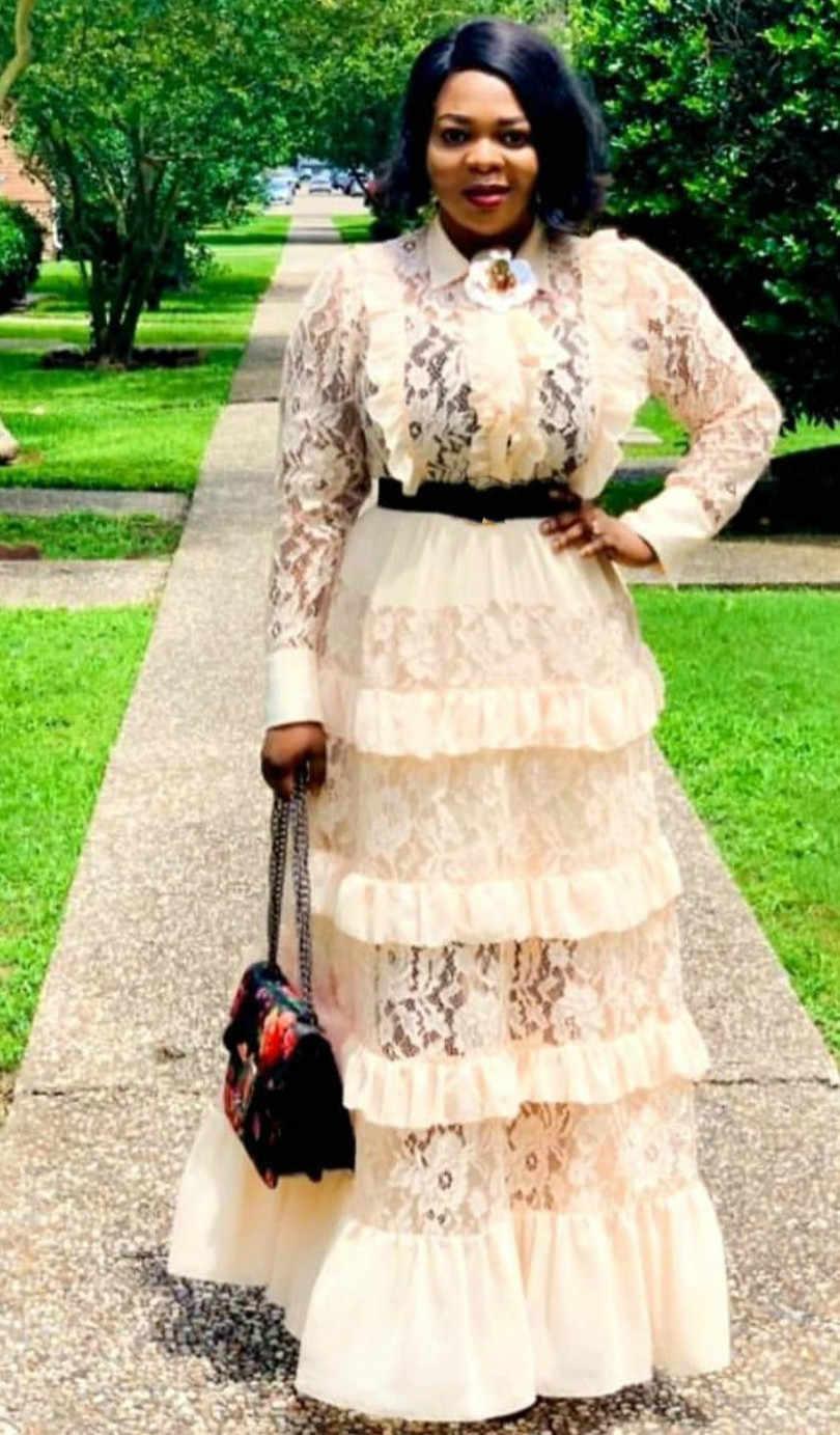 Novedad de 2019, vestido largo elegante de encaje de talla grande para mujer de estilo africano a la moda, L-XXL
