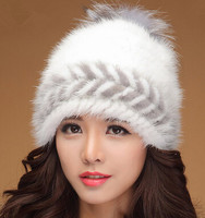 Women elegant hat Russian fur hats Gorgeous design Real mink fur hat for winter women fur cap with fox fur chapeu feminine