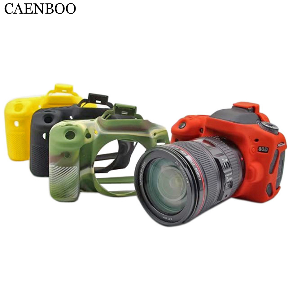 CAENBOO 80D Camera Bag Soft Silicone Rubber Protective Body Colorful Camouflage Cover Case Skin for Canon
