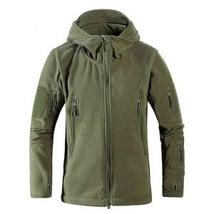 Image 1 - Chaqueta con capucha a prueba de viento para hombre, forro polar táctico para tiro de montaña, micro térmico, polar, ropa militar transpirable