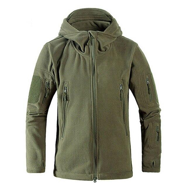Chaqueta con capucha a prueba de viento para hombre, forro polar táctico para tiro de montaña, micro térmico, polar, ropa militar transpirable
