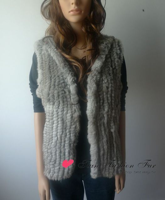 high quality Brand New Rabbit fur Gilet Waistcoat 100% Natural Rabbit fur Vest Fur Hoody Vest In stock