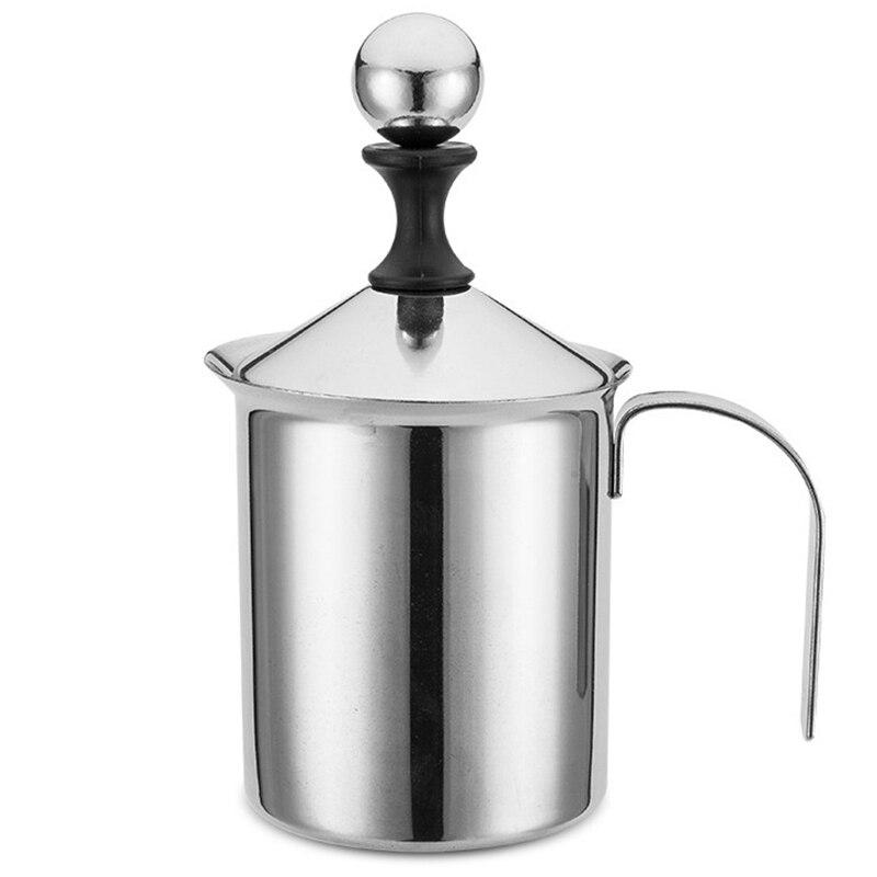 Manuel süt kahve demleyici kahve yapıcı paslanmaz çelik el pompası süt köpürtücü el süt sürahisi|Süt Köpürtücüler|   -