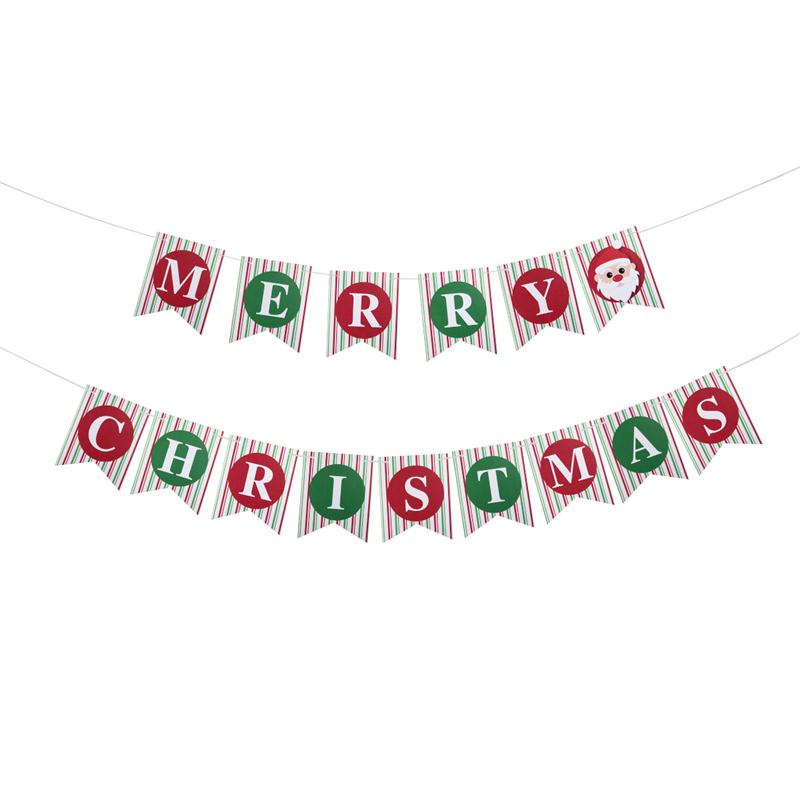 15pcs Merry Christmas Banner Sign Bunting Xmas Party Decoration Party Photo Prop Booth New Year Party Supplies