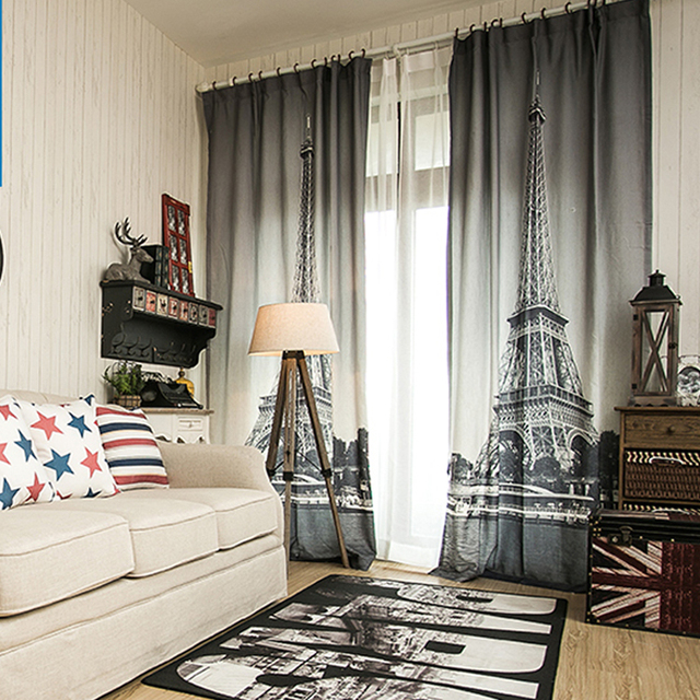 Aliexpress.com : Buy 3D black and white Paris living room curtains ...
