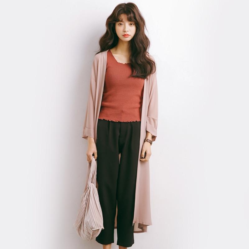 Été Cardigan blouse femmes ouvert avant plage lâche Kimono filles noir rose et bleu décontracté Long Cardigan hauts Outwear M532