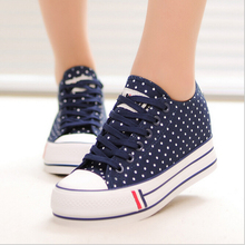 Fresh candy colors  dots  women casual shoes fashion  casual canvas shoes muffin platform shoes