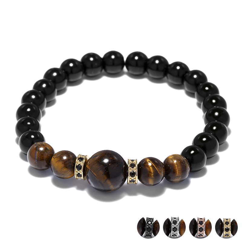Big 12mm Tiger Eye Main Stone Charm Bracelets Crystal Circle River Beaded Wrist Band Bracelet Men Jewelry Pulseras Hombre