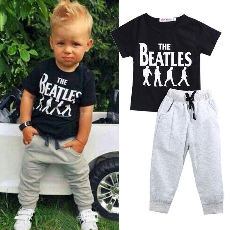 1 2 3 4 5 6 Year Boys Summer Clothes Short Sleeve T-shirt Pants Children Clothing Boys Set Casual Letter Printed Kids Suits