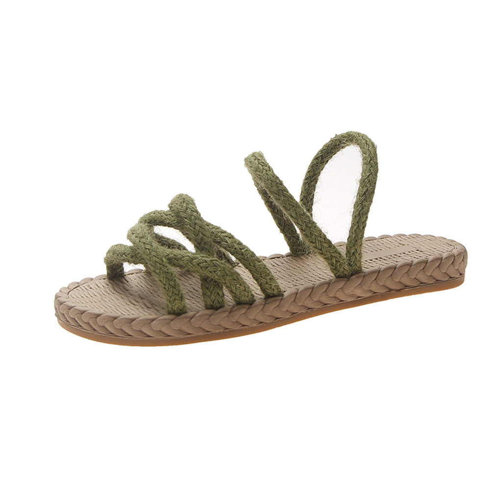 Summer Fashion Ladies Versatile Woven Flat Slippers Casual Beach Shoes new Open Toe Sandals Non-Slip Solid Beach Slippers Mar 10Summer Fashion Ladies Versatile Woven Flat Slippers Casual Beach Shoes new Open Toe Sandals Non-Slip Solid Beach Slippers Mar 10
