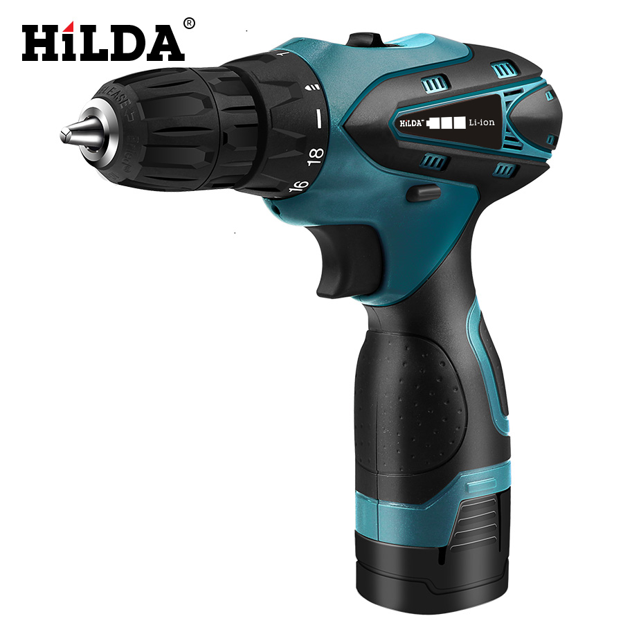 HILDA Electric Drill Cordless Screwdriver Lithium Battery  Mini Drill Cordless Screwdriver Power Tools Cordless Drill rubber stamp