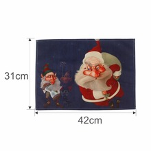 42x32cm Santa Clause Pattern Dining Table Placemats Merry Christmas Decorations for Home Tableware Pad Coaster Coffee Place Mat