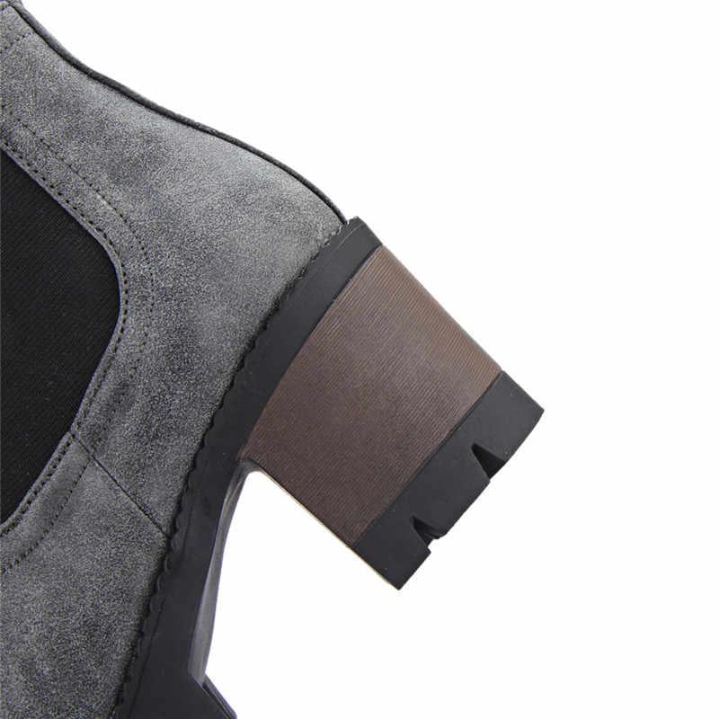 MEMUNIA 2018 yeni moda çizmeler kadın yuvarlak ayak sonbahar kış çizmeler üzerinde kayma kare topuklu platform ayakkabılar bayan yarım çizmeler
