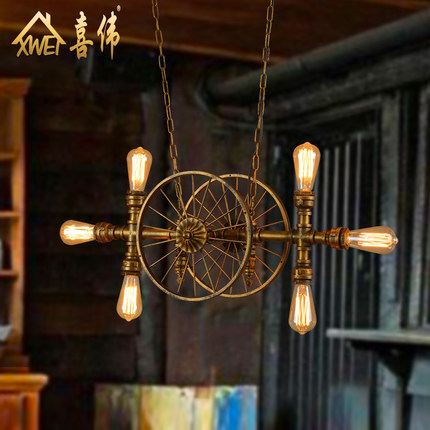 American Country Creative Loft Style 6 Head Retro Water Pipe Pendant Light Restaurant Cafe Decoration Retro Lamp Free Shipping southeast asia style creative single head wood art retro restaurant pendant light living room decoration lamp free shipping